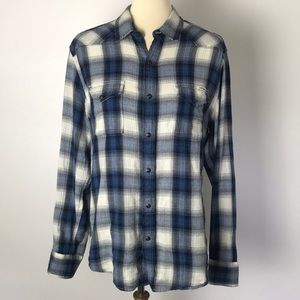Lucky Brand Blue Plaid Flannel Shirt Medium